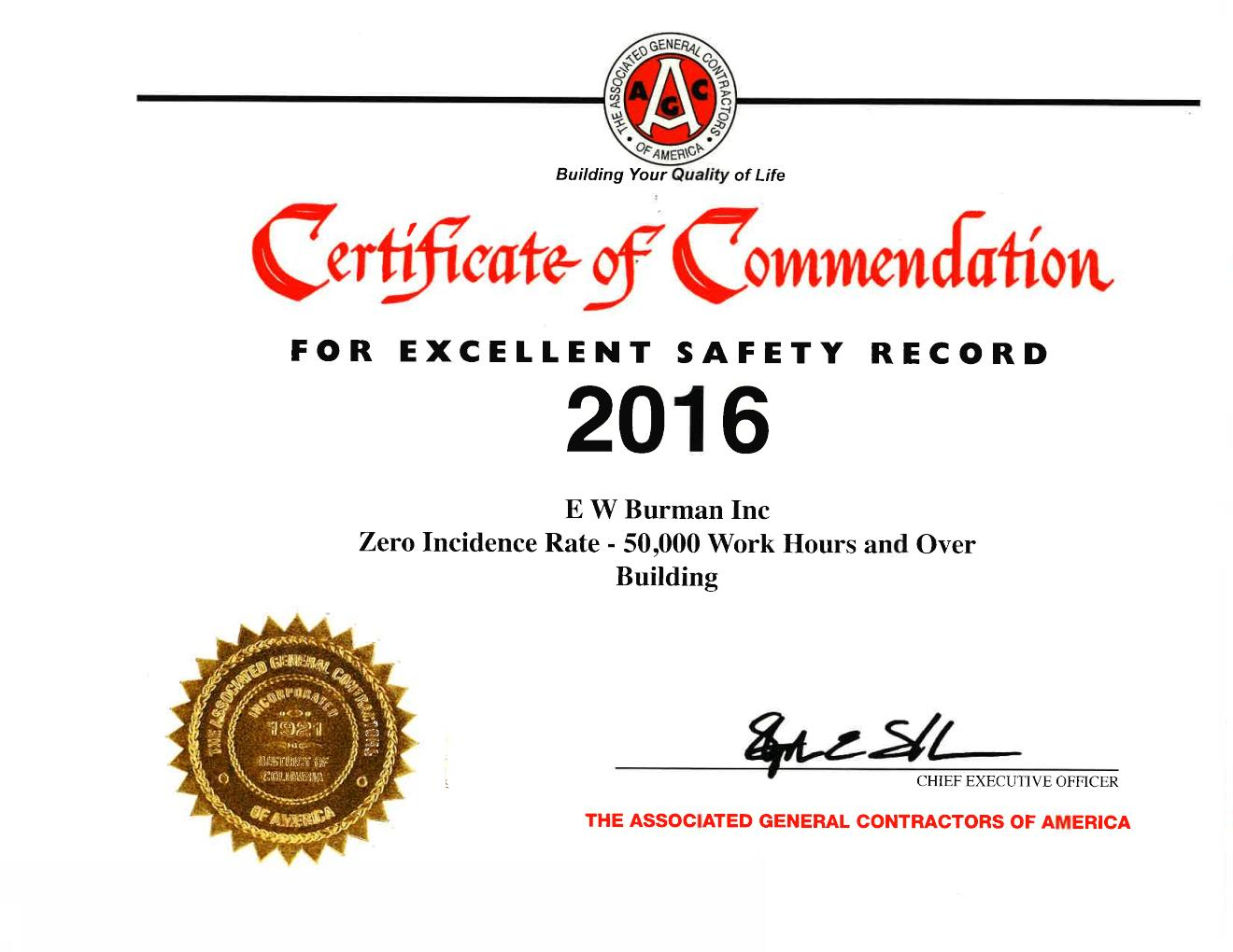 Associated General Contractors (AGC) Award Winner For Excellent Safety Record – 2016